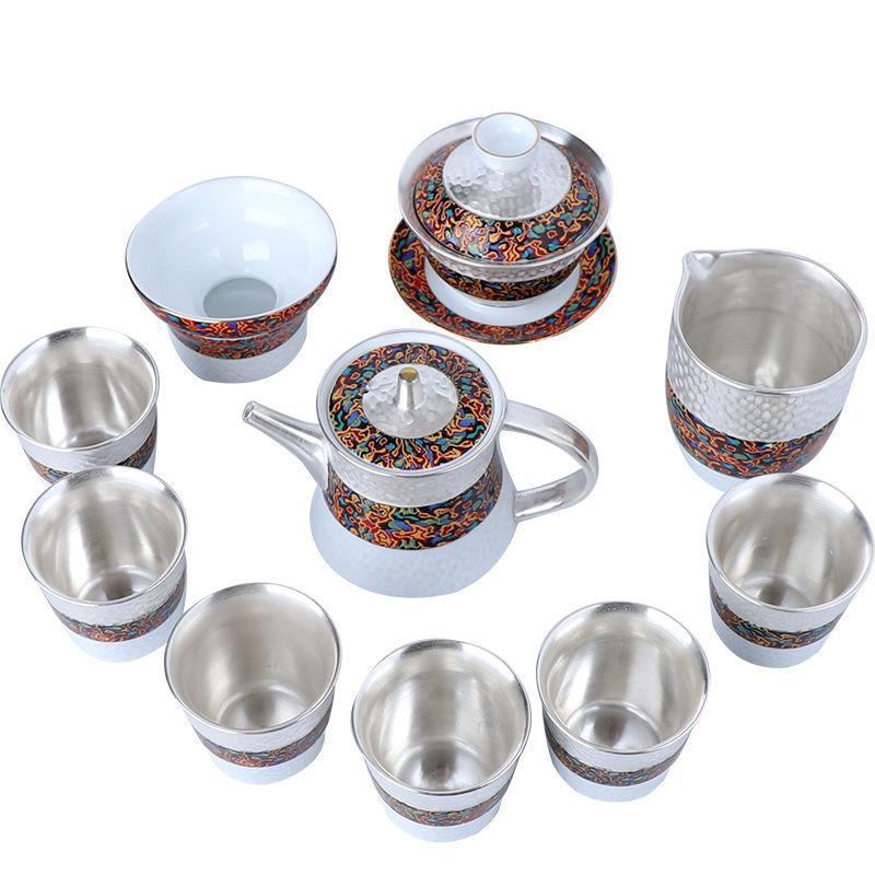 Kung Fu Tea Set 999 Sterling Silver Handmade Silver Tea Set Kung Fu Tea Set Set Office Gift Collection