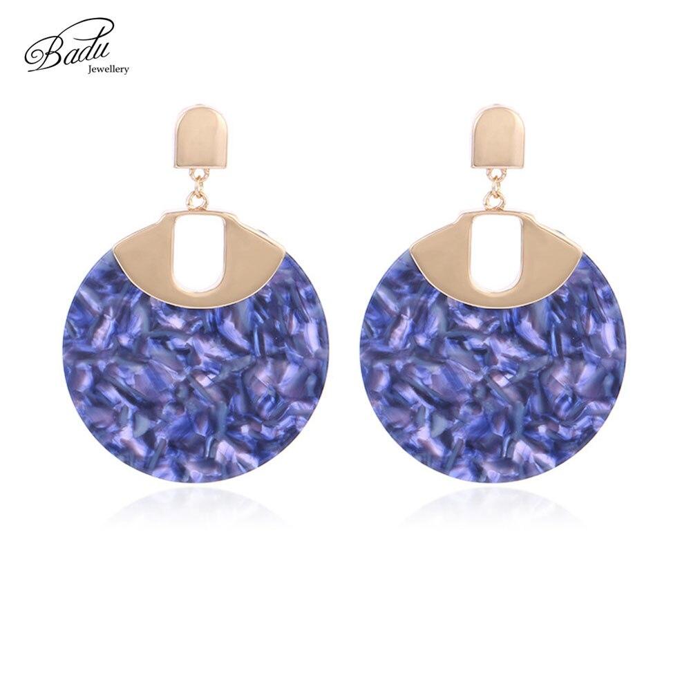 Badu Leopard Acetic Acid Earrings for Women Big Round Acrylic Pendant Drop Earring Statement Jewelry Gift for Girls Wholesale in Drop Earrings from Jewelry Accessories