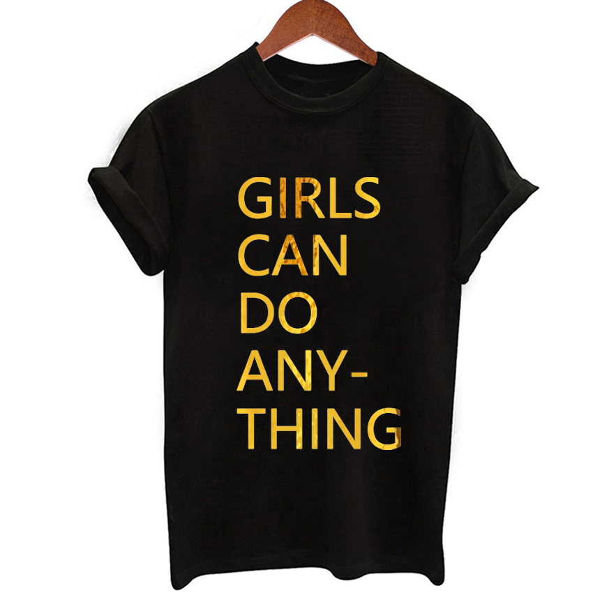 the latest f4b46 50095 2017 Casual T shirt Women Gold Letter Print Short Sleeve Tops Graphic Tee  Shirts Female Black White T shirt for Women-in T-Shirts from Women s  Clothing on ...