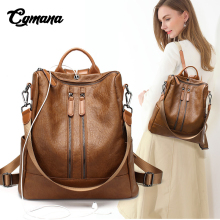 CGMANA Women Backpack 2018 Simple Earphone Hole Female Soft Leather For Teenage Girl School Bag Mochilas