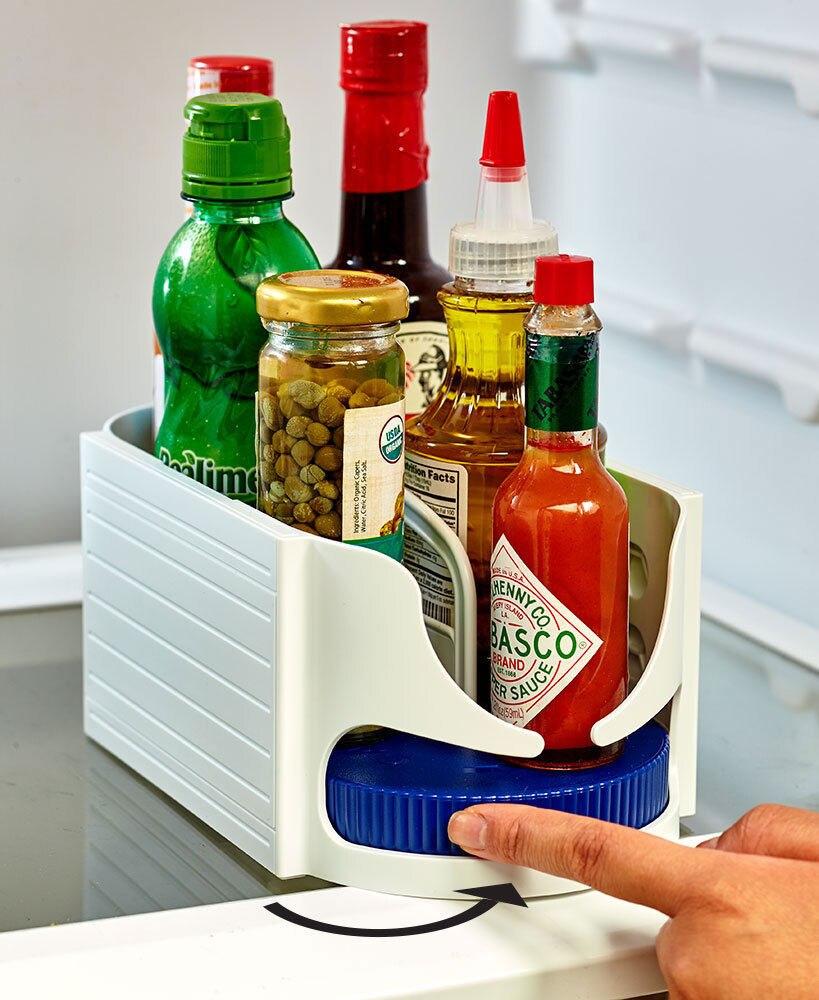 Multi-functional Double Roller Rotating Storage Box Bathroom Caddy Swivel Organizer Kitchen Racks Accessories