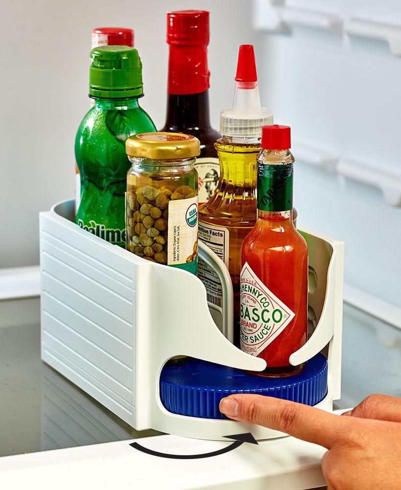 Multi-funzionale Doppio Rullo Rotante Scatola di Immagazzinaggio Bagno Caddy Girevole Organizer Rack Accessori Da Cucina