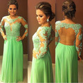 New Backless Vestido Women Full Sleeves Appliques Bandage Dress Lady Office Sexy Prom Dresses
