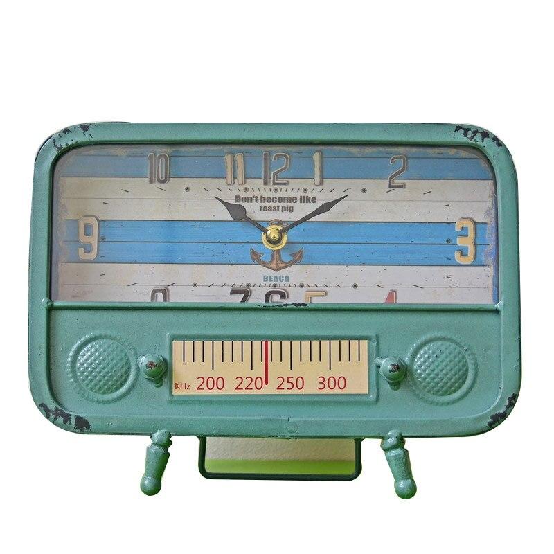 Vintage Radio Forme Horloge Rétro Vieux Fer Décor À La Maison Décoration De Bureau Artisanat Cadeau Imitation Modèle Antique Ornements Figurines