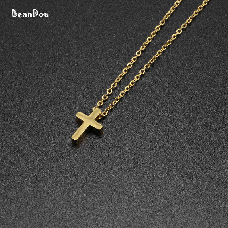 Fashion Cross Pendant Religious Necklace Short Choker Necklace For Men Women Titanium 45cm Chain Catholic Jewelry Free Shipping