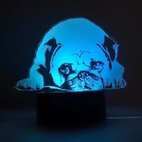 3D Led 7 Colors Changing Acrylic Cute Pug Dog Table Lamp USB Touch Button Fashion Night