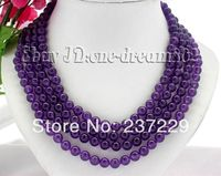 Wholesale price FREE SHIPPING AD 1008mm round nature purple jade necklace
