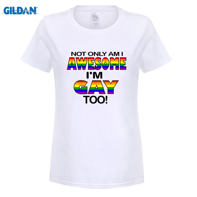 caca8bb9 GILDAN FUNNY COOL NOVELTY JOKE GAY PRIDE SLOGAN FLAG T-SHIRTS LGBT GIFTS  women T Shirt Cheap Sale