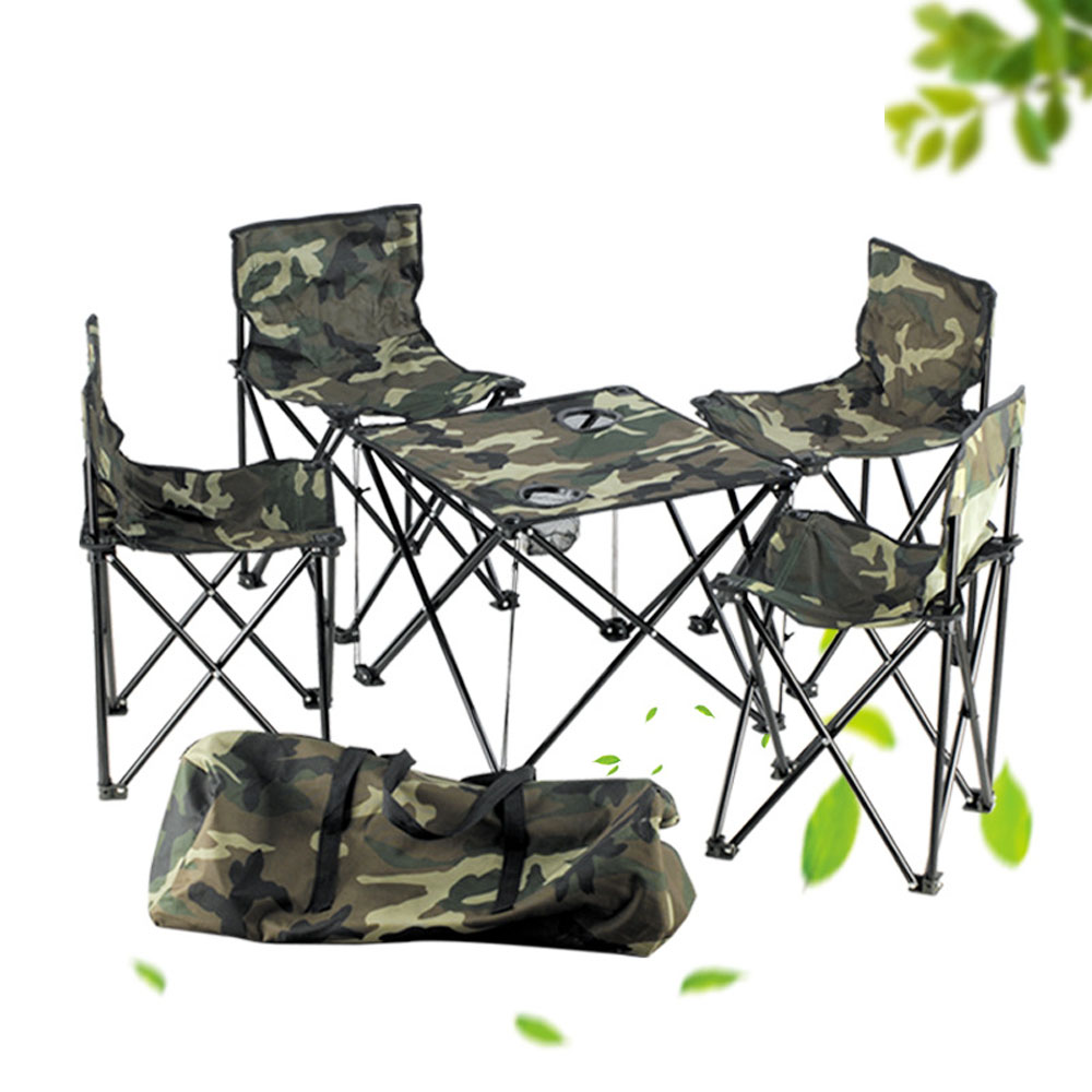 5Pcs/Set Camouflage Detachable Camping Aluminium Alloy Extended Chair Folding Fishing BBQ Table Chair For Outdoor Activities alluminum alloy magic folding table bronze color magic tricks illusions stage mentalism necessity for magician accessories