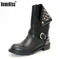 Real Genuine Leather Boots Rivet Square Heels Autumn Winter Ankle Boots Sexy Martin Fur Snow Boots