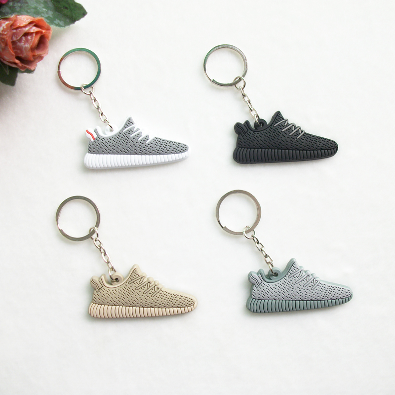 Mini Silicone Sneaker Yeezy Boost 350 Keychain Key Chain Shoes Car Key Holder Woman Men Bag Charm Accessories Key Rings Pendant