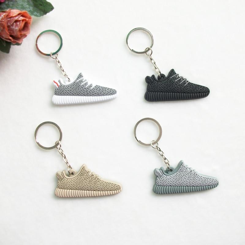 Mini Silicone Sneaker Yeezy Boost 350 Keychain Key Chain Shoes Car Key Holder Woman Men Bag Charm Accessories Key Rings Pendant