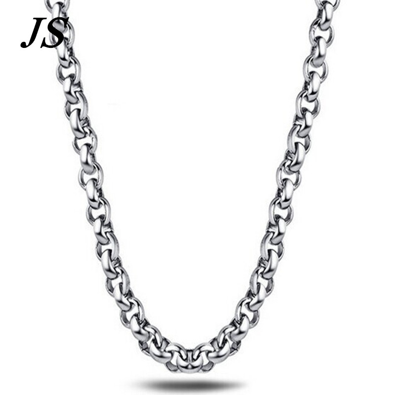 9cdfaa201 Js 4 mm grande rodada ligação colar 55 cm de titânio 316l de jóias RN007