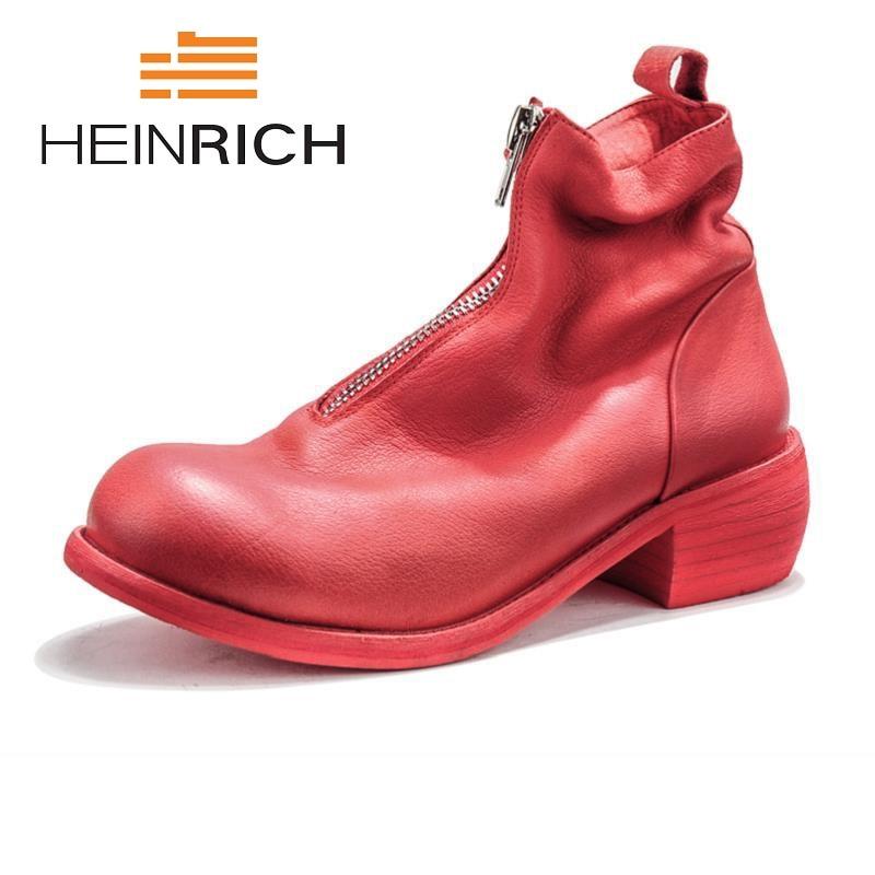 HEINRICH 2018 New Hot Men Shoes Fashion Warm Fur Winter Men Leather Boots Waterproof Snow Boots Footwear High Top Men Shoes
