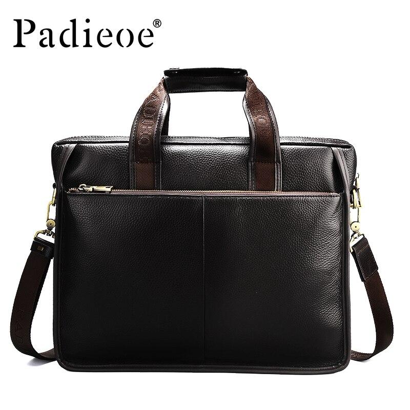 Padieoe Luxury Design Genuine Leather Briefcase Fashion Business Men Laptop Bag Big Capacity Casual Tote Quality