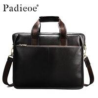 Padieoe Luxury Design Genuine Leather Briefcase Fashion Business Men Laptop Bag Big Capacity Casual Tote Quality Men Leather Bag