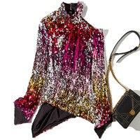 Новый High end одежда высшего качества для женщин s с одним плечом Рог рукава и тяжелых цветные блёстки