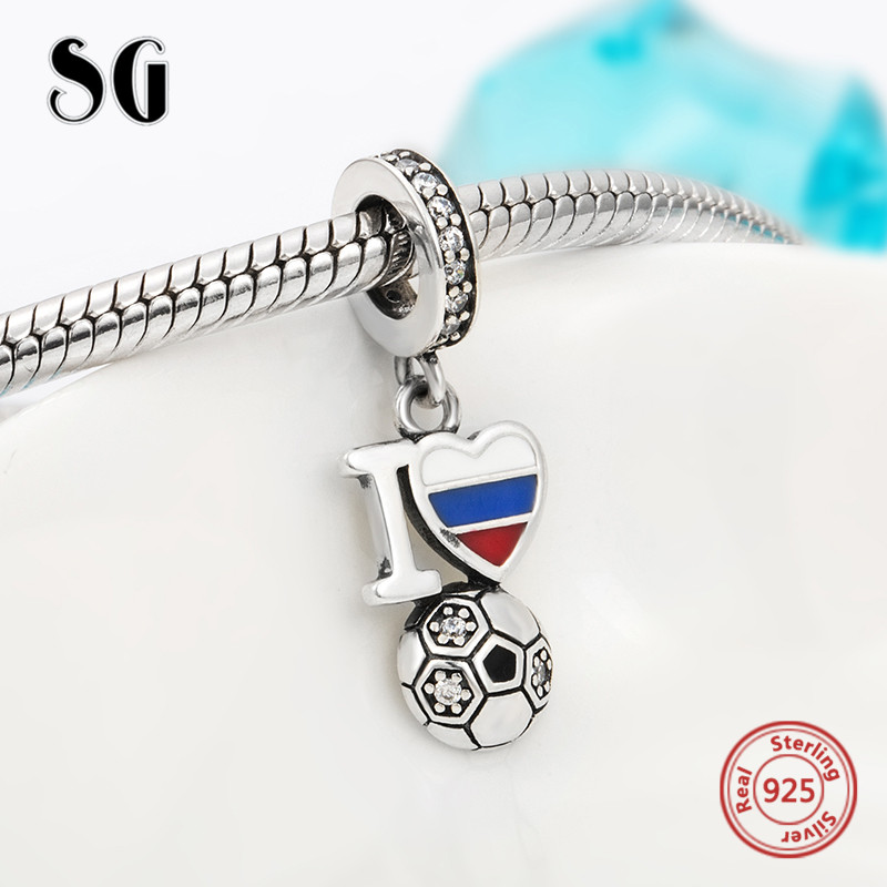 Fit Authentic pandora Bracelets 925 silver charms I love soccer pendant beads with enamel diy fashion jewelry making men gifts