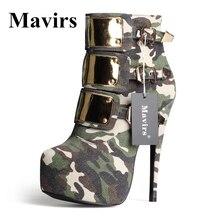 Mavirs 2017 Camuflaje de Metal Punta Redonda Botines Mujeres de Talla grande Bombas Plataforma Tacones Altos Botas de Novia Fiesta Zapatos de tacón de Aguja