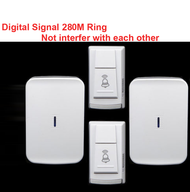 wireless door bell 2 emitter+2 receiver & power by AA battery doorbell Waterproof 280 Meter door chime door ring digital signal