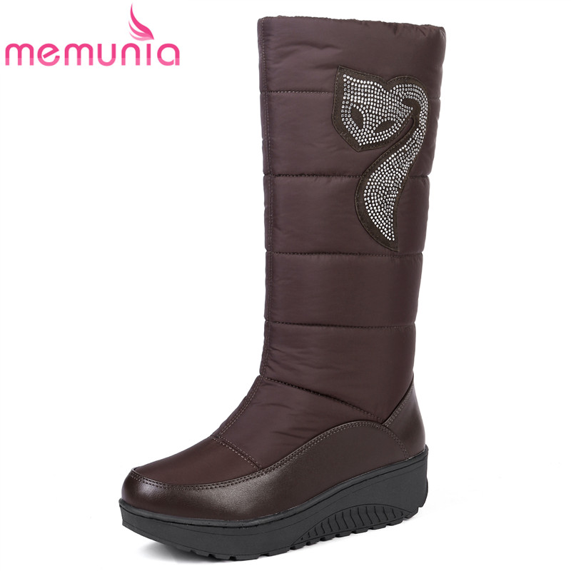 MEMUNIA 2018 new fashion snow boots rhinestone wedges high heels thick fur inside winter mid calf boots ladies women boots стоимость