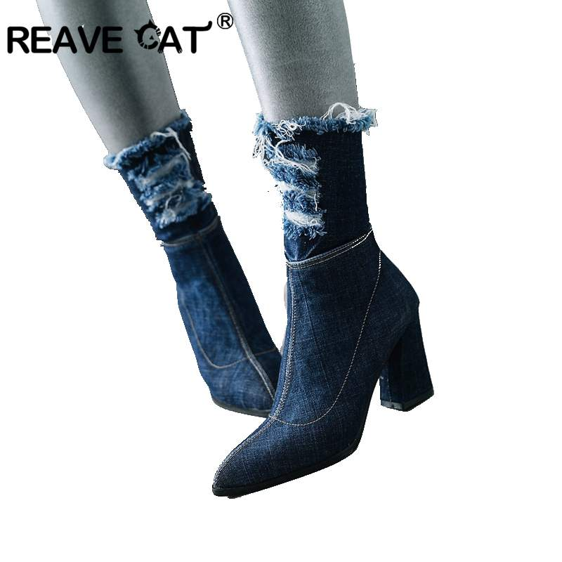 REAVE CAT Shoes Spring Autumn Denim Pointed Toe Zipper Broken hole Square heel Women ankle boots Zapatos Mujer Ladies A1290 chic pocket design zipper fly broken hole jeans for women