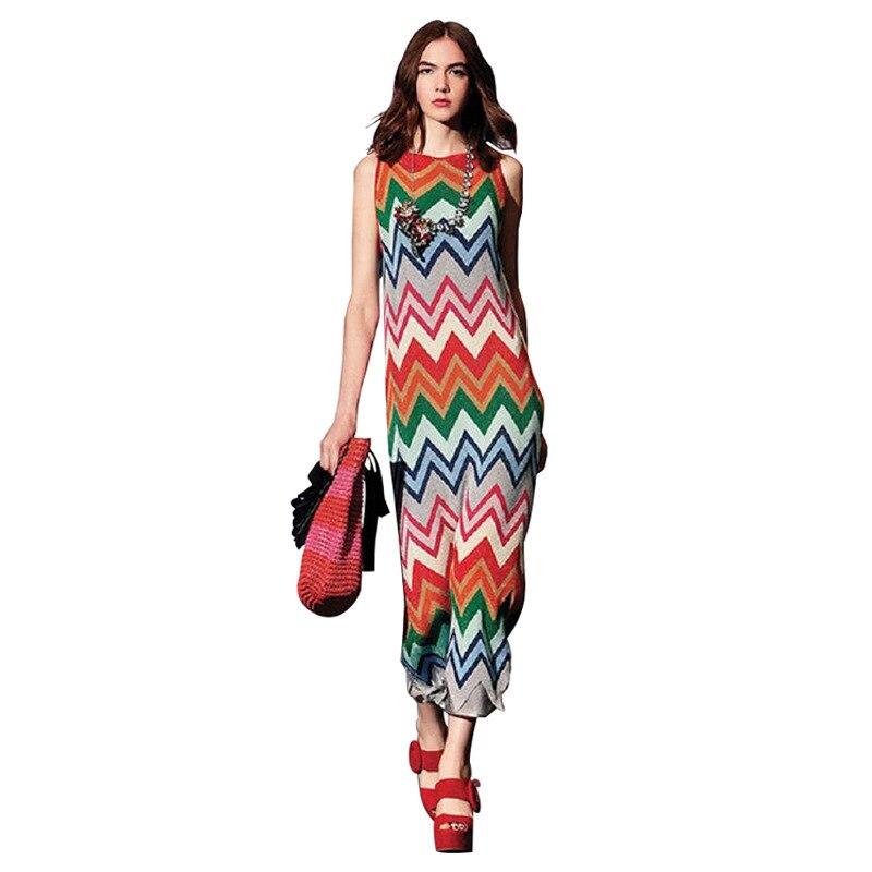 Summer Casual Women Dress 2018 New Bohemian Hit Color O-Neck Spaghetti Strap Striped Stretch Slim Thin Knit Sleeveless Dress