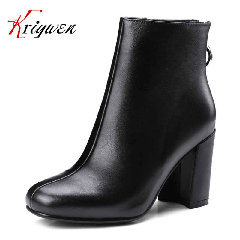 2017 autumn genuine leather fashion ankle boots metal decoration women shoes chunky high heels cow leather zipper short botas