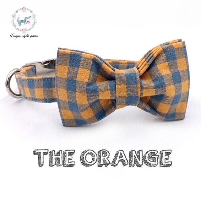 Collare di cane con Bow Tie Arancione e Blu In Cotone a Quadri Addestramento Del