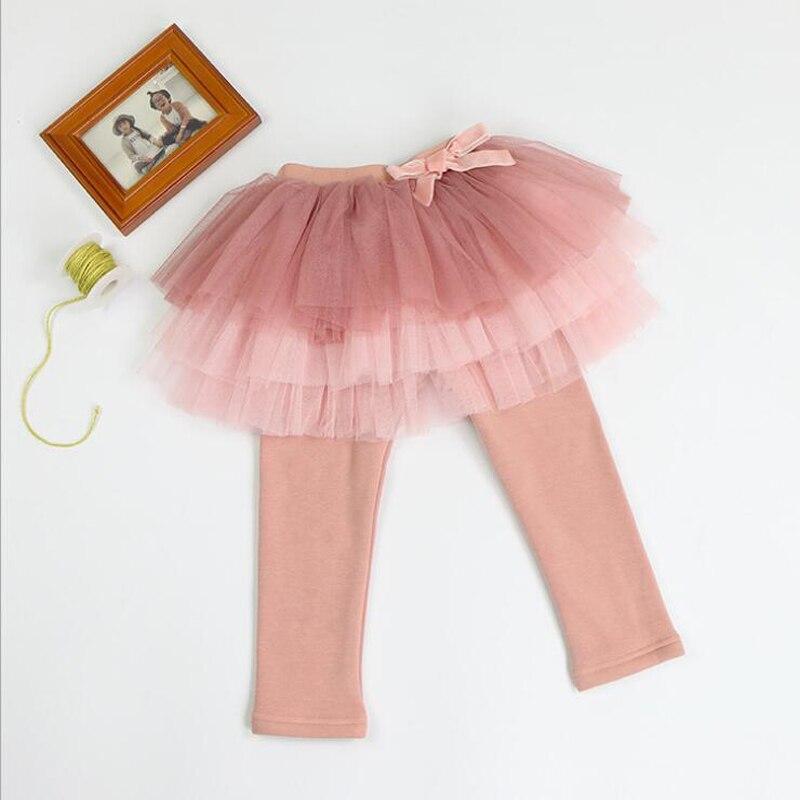 Buenos Ninos warm thick plus velvet bottom leggings mesh skirts bow decoration autumn winter all match girls leggings 40