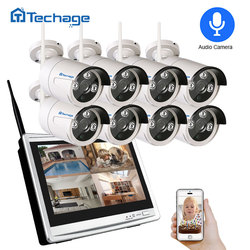 Techage 8CH 1080 P Draadloze NVR Kit WiFi CCTV Systeem 12 LCD Monitor Screen 2MP IR Outdoor Bewakingscamera video Surveillance Set