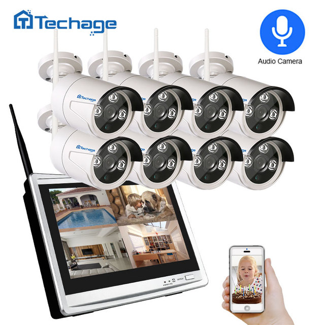 "Techage 8CH 1080P Kit NVR inalámbrico sistema WiFi CCTV 12 ""Pantalla de monitor LCD 2MP cámara de seguridad exterior infrarroja videovigilancia"