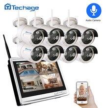 """Techage 8CH 1080P 무선 NVR 키트 와이파이 CCTV 시스템 12 """"LCD 모니터 화면 2MP IR 야외 보안 카메라 비디오 감시 세트"""