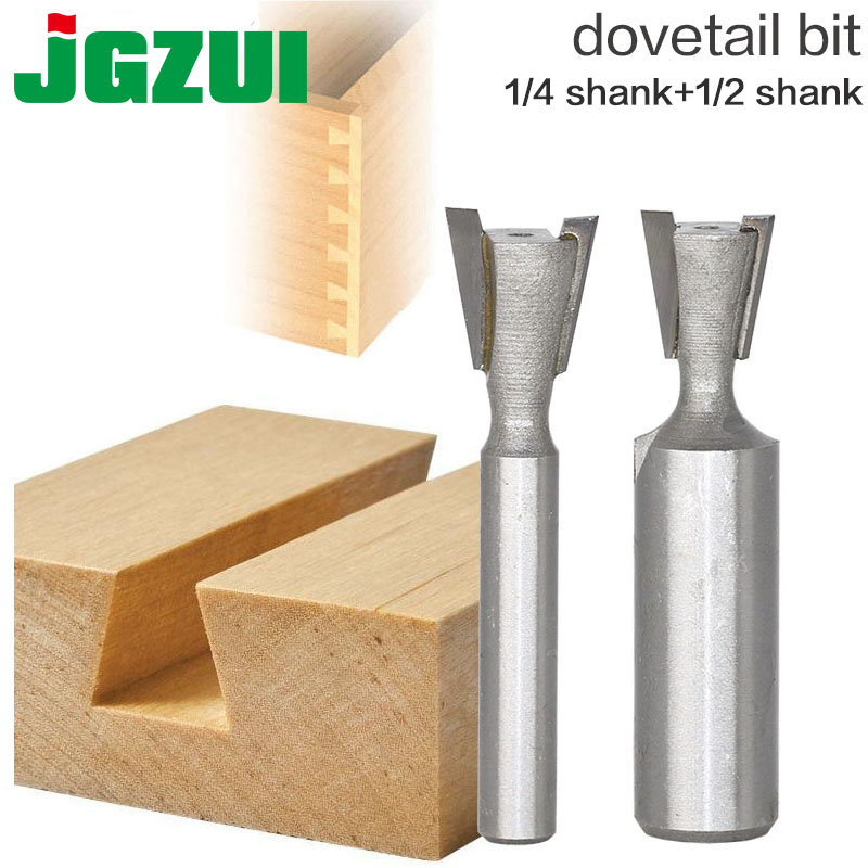 цена на 1pc1/4 1/2mm Shank High Quality Industrial Grade Wood Cutter Dovetail Router Bits for wood Tungsten Engraving Tool Milling