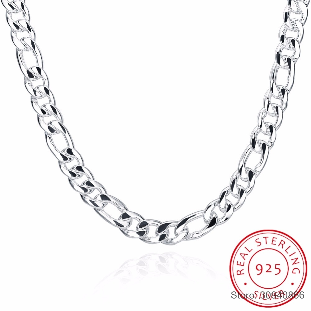 """20/"""" Necklace Sterling Silver Men/'s Cuban Curb Chain Pure 925 Italy New Wholesale"""