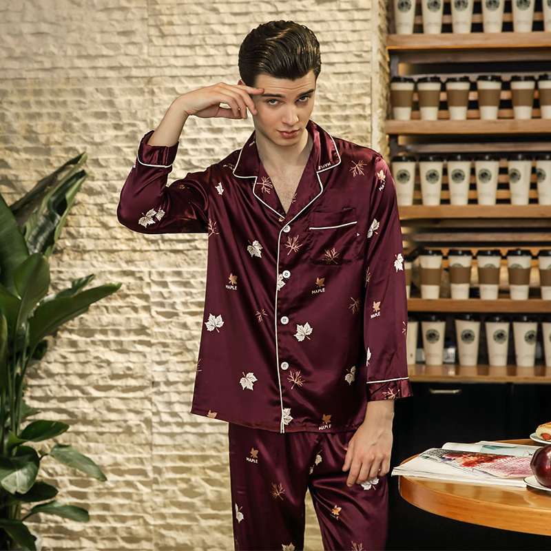 Simulation Silk Pajamas Men's Spring Long-sleeved Trousers Home Service Suit Casual Two-piece Suit Silk Pajamas For Men Pajamas