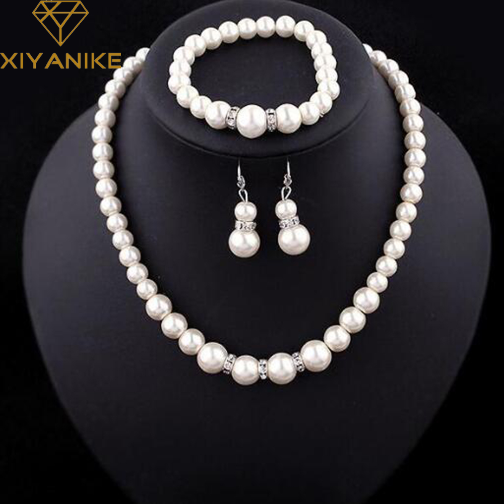 Fashion Classic Imitation Pearl Silver Plated Clear Crystal Top Elegant Party Gift Fashion Costume Pearl Jewelry Sets N85(China)