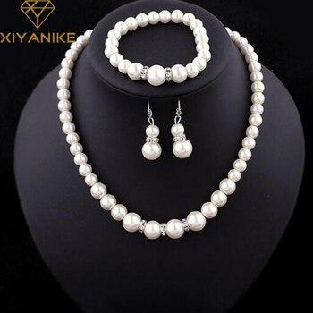 Moda clásica imitación perla enchapado en plata cristal transparente Top elegante regalo de fiesta moda disfraz conjuntos de joyas de perlas N85 1
