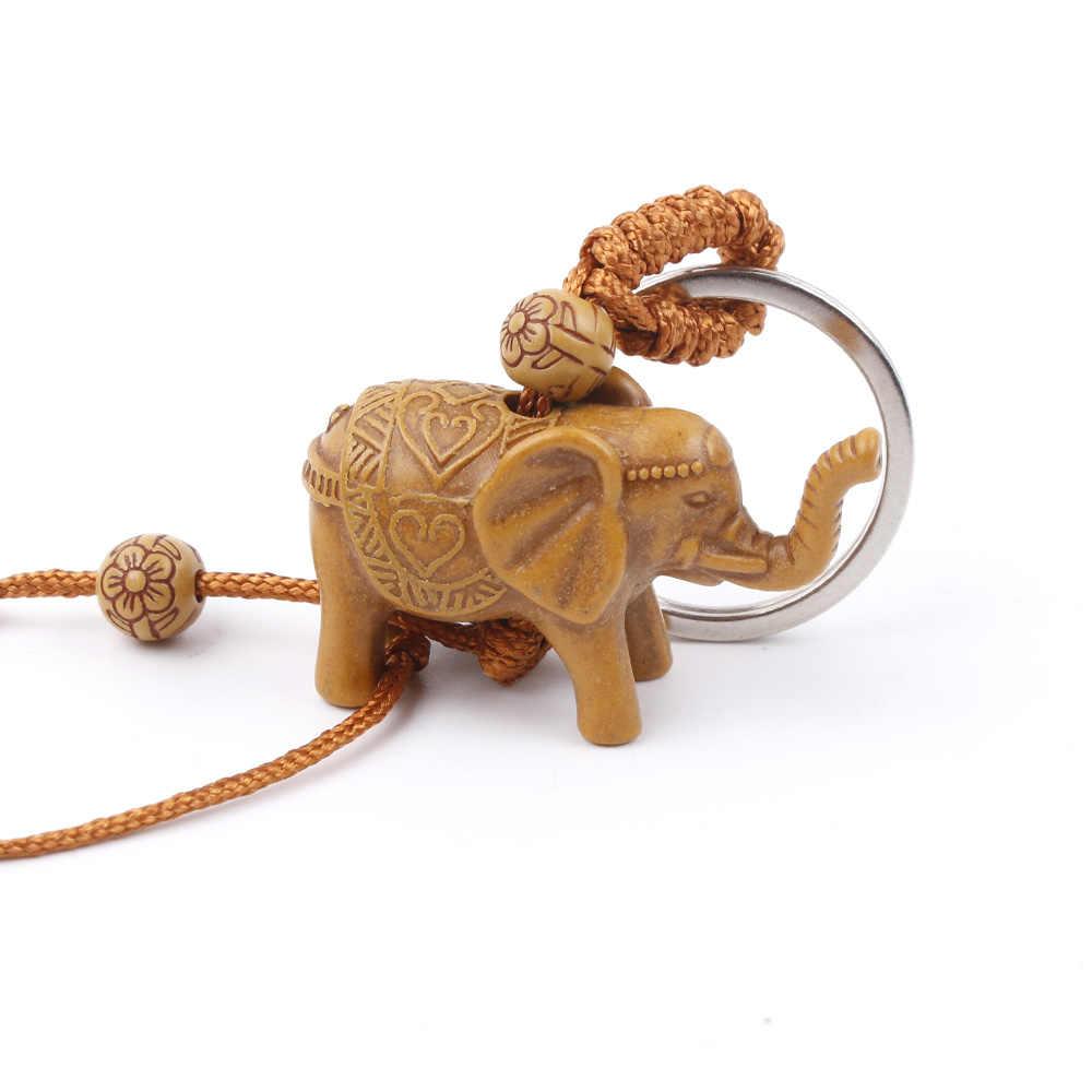 Neue Ankunft Glück Keychain Männer frauen Elefanten Carving Holz Anhänger Keychain Schlüssel Ring Kette Schmuck Zubehör Geschenk
