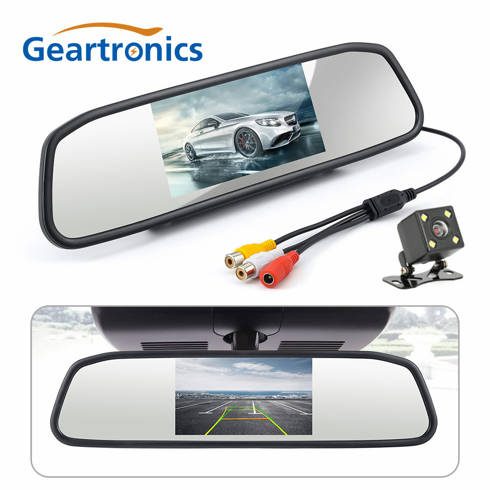 4.3 Inch Car Rear View Mirror Monitor CCD HD Waterproof Parking Monitors System, 4 LED Night Vision Car Rear View Camera