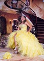 Amarelo 2017 vestido de baile vestidos quinceanera querida decote sweet 16 ano da princesa vestidos para crianças de 15 anos vestidos de 15 años
