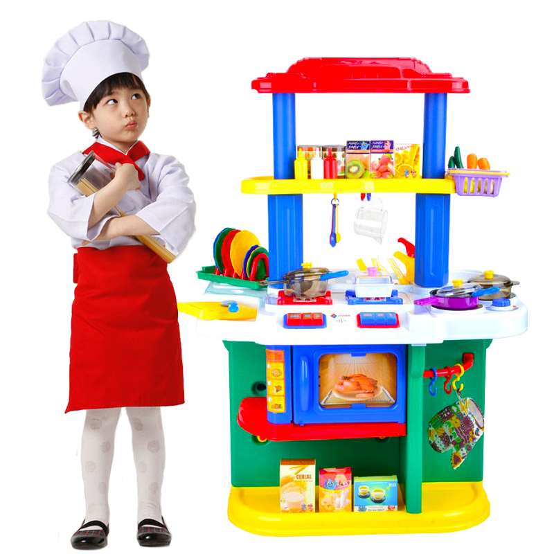 Kitchen toys plastic play pretend food dinnerware set for Plastic kitchen set