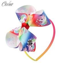 1 Pc Girls Jojo Siwa Hairbands Ribbon Hair Bow Headbands Unicorn Jojo Bows Headwear Hair Accessories