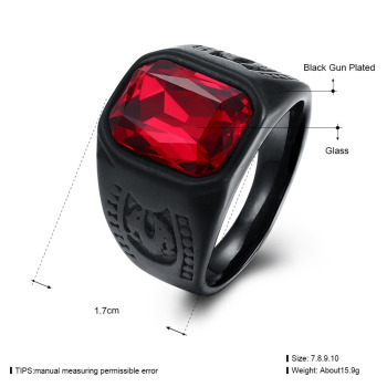 Red Black Geometry Stone Ring 1