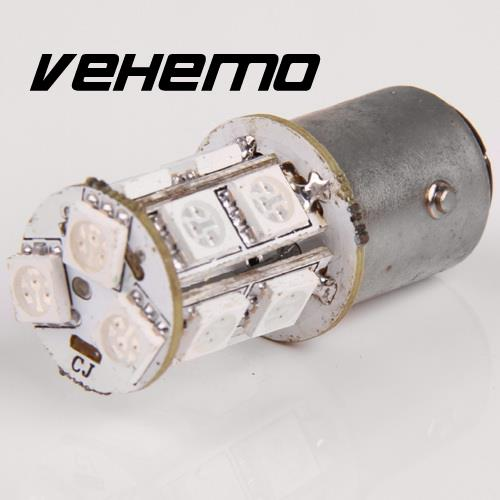 Vehemo New Turn Signal Brake Tail Red Light 13-SMD 5050 LED RED 1157 P21/5W BAY15D 1152 1154 High Quanlity