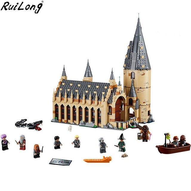 Nuevo Harry Potter serie Hogwarts gran salón compatibilidad Legoing Harry Potter 75954 bloques de construcción ladrillos juguetes regalo de Navidad