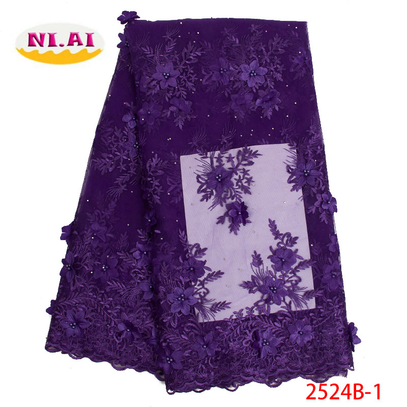 African 3D Lace Fabric Embroidery Nigerian Beads Net Lace Fabric 2019 High Quality Hot Sale French