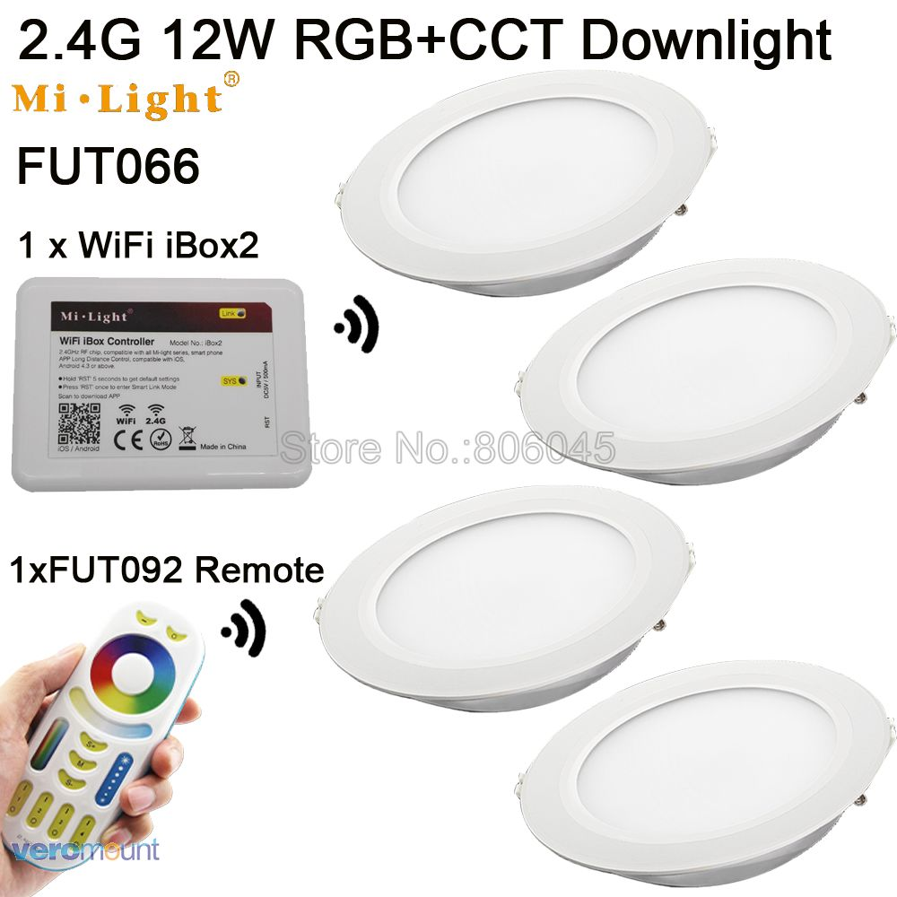 AC85-265V MiLight 2.4G RF Wireless 4-Zone Touch Remote 12W RGB+CCT (RGB+CW+WW Full Color) Smart LED Downlight FUT066 App Control