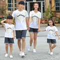New 2017 Summer Family clothes casual women girl men Boy t shirt pants printing cozy family children Tops shorts sets