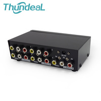 Metal AV Splitter For DVD HDTV AV Video Audio Splitter Box 3 RCA Distributor 1 In